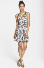 Everly Floral Print Skater Dress at Nordstrom
