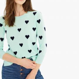 Everyday Cashmere Crewneck Sweater With Intarsia Knit Hearts by J. Crew at J. Crew
