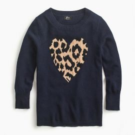 Everyday cashmere crewneck sweater with leopard heart at J.Crew