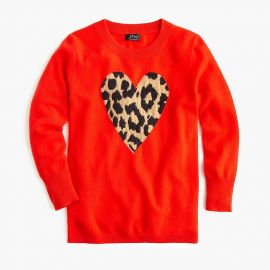 Everyday cashmere crewneck sweater with leopard heart at J. Crew