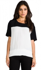 Evil Twin Side Lined Woven Tee in Black and White  REVOLVE at Revolve