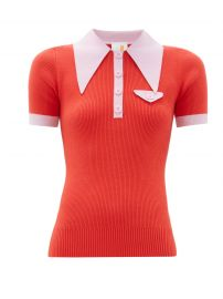 Exaggerated point-collar cotton-blend polo shirt at Matches