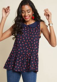 Exceptional Impression Peplum Top in Strawberries at Modcloth