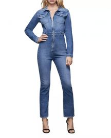 Exposed Zip Denim Jumpsuit at Neiman Marcus