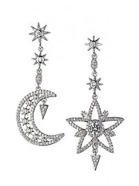 Eye Candy LA - Luxe Silvertone  amp  Crystal Star  amp  Moon Mismatched Drop Earrings at Saks Off 5th