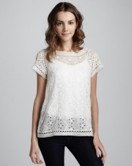 Eyelet lace top by Joie at Bergdorf Goodman