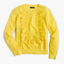 Eyelet sweater in summerweight cotton yellow at J. Crew