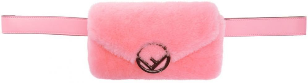 F is Fendi Pink  Shearling Belt Bag by Fendi at SSense