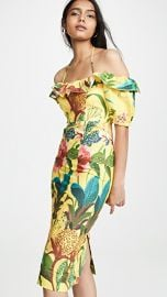 FARM Rio Golden Jungle Linen Midi Dress at Shopbop
