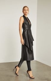 FAUX LEATHER DRAPE FRONT LONG VEST at Bcbg