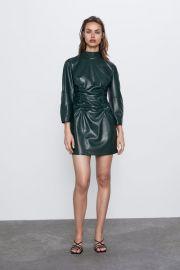 FAUX LEATHER DRAPED DRESS at Zara