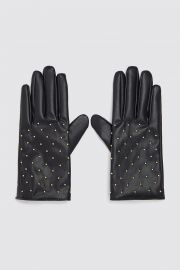 FAUX LEATHER GLOVES WITH MINI STUDS at Zara