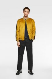 FAUX SUEDE BOMBER JACKET at Zara