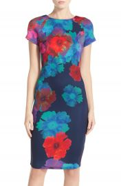 FELICITY and COCO Floral Print Scuba Sheath Dress Nordstrom Exclusive at Nordstrom