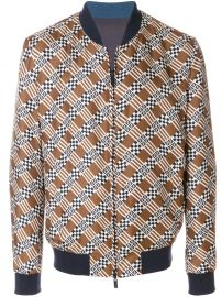 FENDI GEOMETRIC PRINT BOMBER JACKET - BROWN at Farfetch