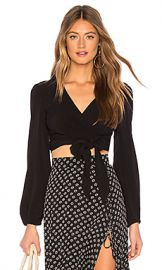 FLYNN SKYE Long Sleeve That s A Wrap Crop Top in Black from Revolve com at Revolve