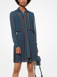 FOULARD-PRINT TIE-NECK BLOUSE at Michael Kors