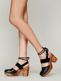 FP Collection  Belmont Leather Clog in black at Free People