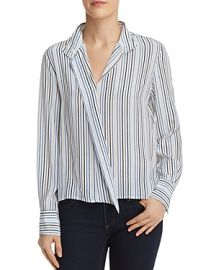 FRAME Cravat Striped Silk Top at Bloomingdales