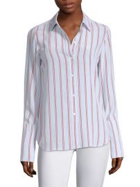FRAME - SILK BUTTON-FRONT BLOUSE at Saks Fifth Avenue