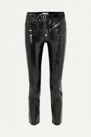 FRAME - Slick cropped patent-leather high-rise slim-leg pants at Net A Porter