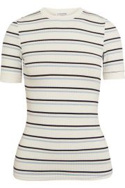 FRAME   Striped ribbed stretch-jersey T-shirt at Net A Porter