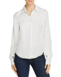 FRAME   x27 70s Contrast-Stitch Silk Blouse  Women - Bloomingdale s at Bloomingdales