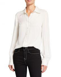 FRAME 70s Contrast-Stitch Silk Shirt at Neiman Marcus