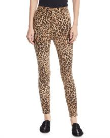 FRAME Ali High-Rise Skinny Leopard Cigarette Jeans at Neiman Marcus
