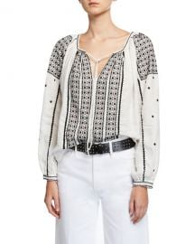 FRAME Anita Embroidered Linen Peasant Top at Neiman Marcus