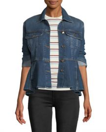 FRAME Button-Front Flounce Denim Jacket at Neiman Marcus