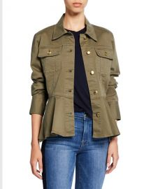 FRAME Button-Front Peplum Jean Jacket at Neiman Marcus