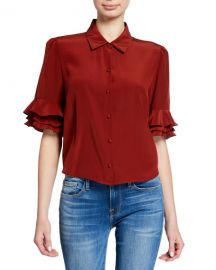 FRAME Button-Front Ruffle Sleeve Crop Top at Neiman Marcus