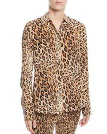 FRAME Cheetah-Print Button-Front Silk Top w  Long Cuffs at Neiman Marcus