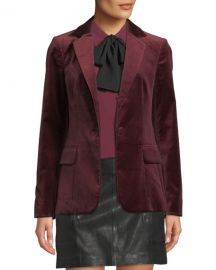 FRAME Classic One-Button Velvet Blazer at Neiman Marcus