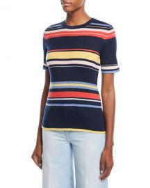 FRAME Crewneck Short-Sleeve Striped Rib-Knit Top at Neiman Marcus