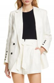FRAME Double Breasted Linen  amp  Cotton Boyfriend Blazer   Nordstrom at Nordstrom