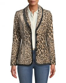 FRAME Fitted Button-Front Leopard-Print Velvet Jacket at Neiman Marcus