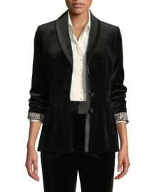 FRAME Fitted Velvet Button-Front Blazer Jacket at Neiman Marcus