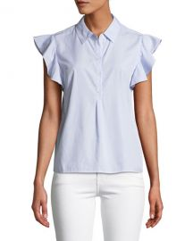 FRAME Flounce Popover Button-Front Cotton Shirt at Neiman Marcus