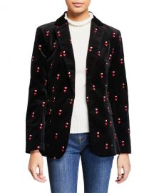FRAME Heart-Embroidered Velvet Classic Blazer at Neiman Marcus