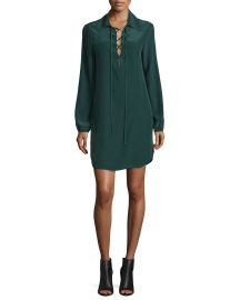 FRAME Lace-Up Silk Shirtdress  Spruce at Neiman Marcus
