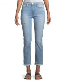 FRAME Le High Pearl Straight-Leg Cropped Jeans at Neiman Marcus