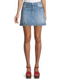 FRAME Le Mini Studded Denim Skirt at Neiman Marcus