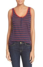 FRAME Le Nautical Henley Linen Tank in Navy Red at Nordstrom
