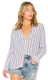 FRAME Long Cuff PJ Blouse in Shirting Blue Multi from Revolve com at Revolve