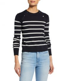 FRAME Mariner Stripe Cotton Sweater w  Button Detailing at Neiman Marcus
