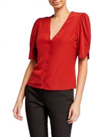 FRAME Olivia V-Neck Button-Front Silk Top at Neiman Marcus