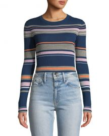 FRAME Panel-Stripe Long-Sleeve Ribbed Sweater at Neiman Marcus