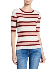 FRAME Panel Stripe Ribbed Short-Sleeve Sweater at Neiman Marcus